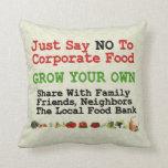 No Corporate Food Throw Pillows
