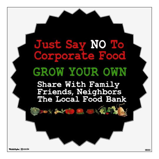 No Corporate Food Wall Sticker