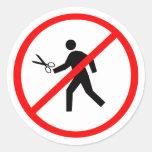 ¡No corra con las tijeras! Pegatina Redonda