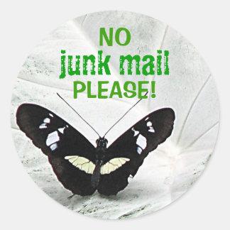 ¡NO, correo basura, POR FAVOR! Etiqueta Redonda