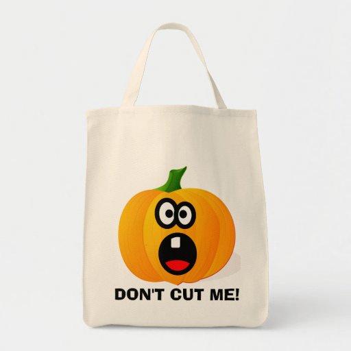 No corte por favor la calabaza asustada de Hallowe Bolsa Tela Para La Compra