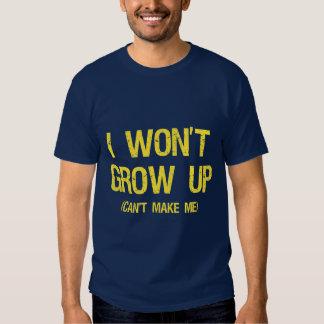 No creceré, usted no puedo hacerme polera