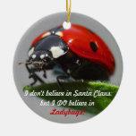 No creo en Papá Noel - ornamento de la mariquita Ornamento Para Arbol De Navidad