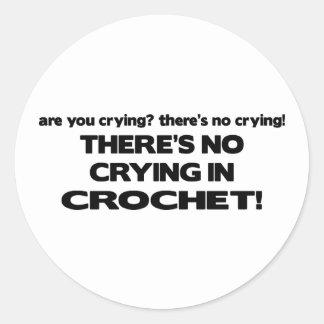 No Crying - Crochet Classic Round Sticker