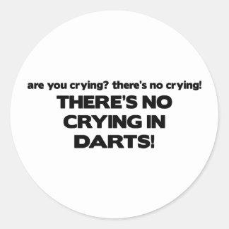 No Crying - Darts Classic Round Sticker
