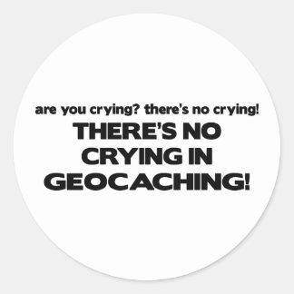 No Crying - Geocaching Classic Round Sticker