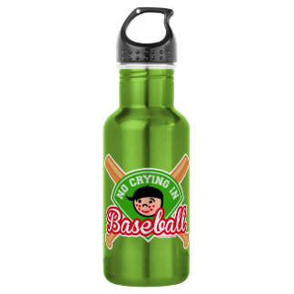 No Crying in Baseball - Cute Kid Bats Diamond 18oz Water Bottle
