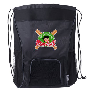 No Crying in Baseball - Cute Kid Crossed Bats Drawstring Backpack