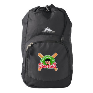 No Crying in Baseball - Cute Kid Crossed Bats High Sierra Backpack