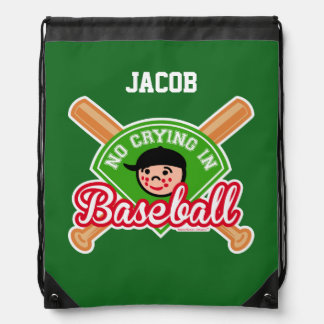 No Crying in Baseball - Cute Kid - Customize Text Drawstring Backpack