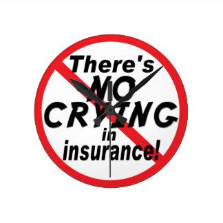 No Crying In Insurance Round Wallclock