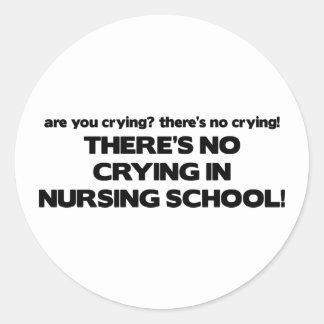 No Crying in Nursing School Classic Round Sticker