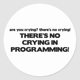 No Crying in Programming Round Stickers