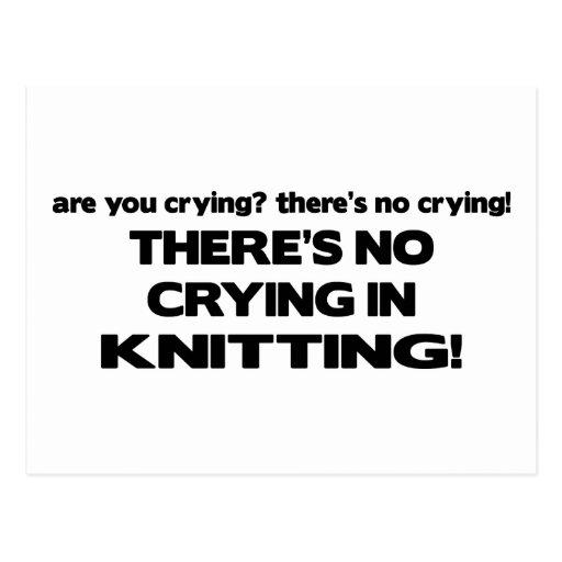 No Crying - Knitting Post Card