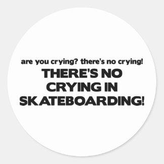 No Crying - Skateboarding Classic Round Sticker