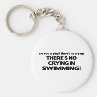 No Crying - Swimming Basic Round Button Keychain