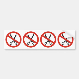 No Cuts Scissors Stop Round Warning Road Sign Bumper Sticker