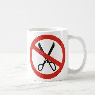 No Cuts Scissors Stop Round Warning Road Sign Coffee Mug