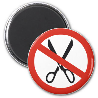 No Cuts Scissors Stop Round Warning Road Sign Magnet