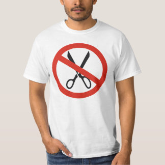 No Cuts Scissors Stop Round Warning Road Sign T-Shirt