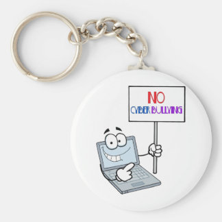 No Cyber Bullying Computer Basic Round Button Keychain