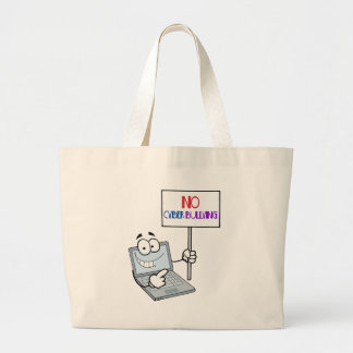 No Cyber Bullying Computer Large Tote Bag
