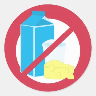 No Dairy Symbol Dairy Free Allergy Warning Classic Round Sticker