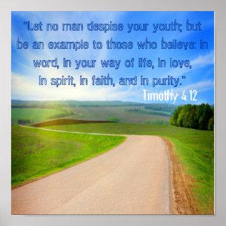 No deje a ningún hombre desdeñar su 4:12 de Tim de Posters