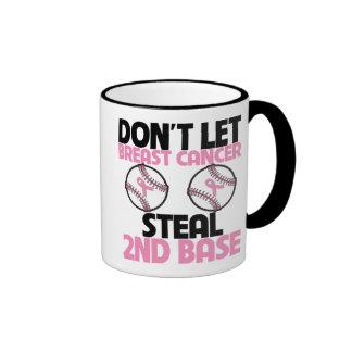 No deje al cáncer de pecho robar la 2da base taza a dos colores