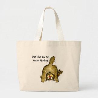 No deje el gato fuera del tote del bolso bolsa tela grande
