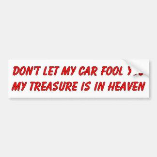 No deje mi coche engañarle artículo cristiano del  pegatina de parachoque
