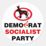 No Democrat Socialist Party (v100) Classic Round Sticker