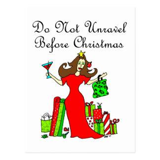 No desenrede antes del navidad - reina del navidad tarjetas postales