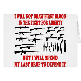 No dibujaré la primera sangre en la lucha para la  tarjeta de felicitación