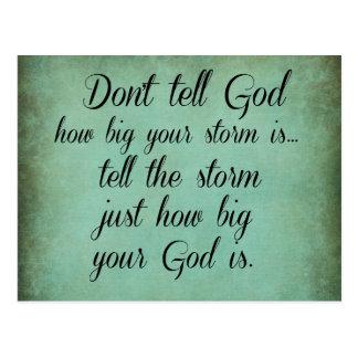 No diga a dios cómo es grande su tormenta es cita tarjetas postales