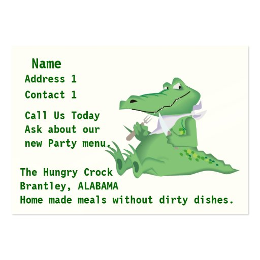 No Dirty Dishes Catering Business Card