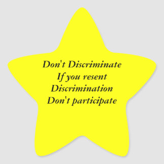 No discrimine calcomanía forma de estrella