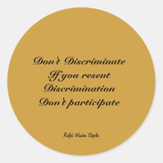 No discrimine etiqueta redonda