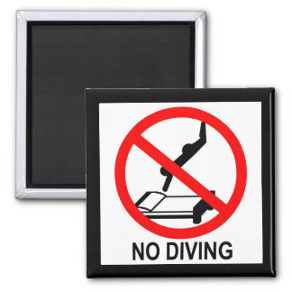 No Diving 2 Inch Square Magnet