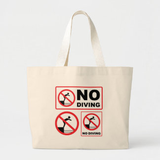No Diving Sign Large Tote Bag