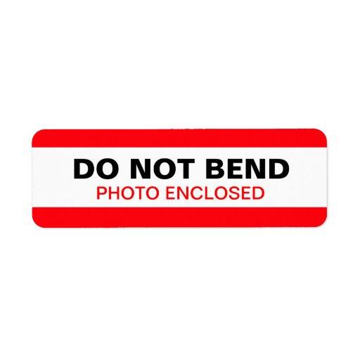No doble el rojo de la etiqueta de advertencia etiquetas de remite