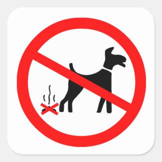 No Dog Fouling Symbol Square Sticker