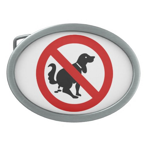 NO Dog Fouling ⚠ Thai Sign ⚠ Oval Belt Buckle
