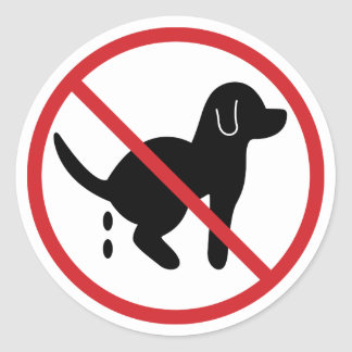 No Dog Waste Classic Round Sticker