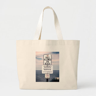 No Dogs Allowed On Beach Large Tote Bag