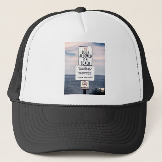 No Dogs Allowed On Beach Trucker Hat