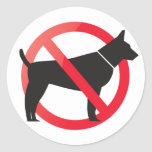 No dogs allowed round stickers