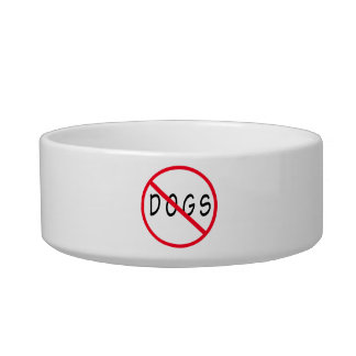 No Dogs Red Circle Sign Bowl