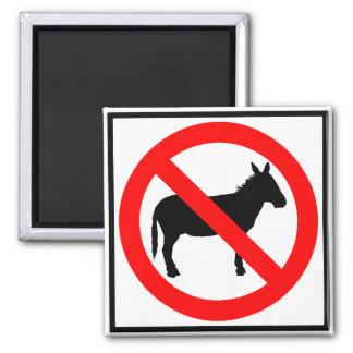 No Donkeys Highway Sign 2 Inch Square Magnet