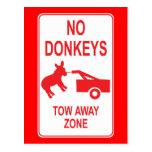No Donkeys: Tow Away Zone Postcard